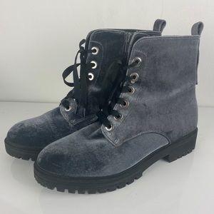Mossimo velvet velour combat boots shoes, 9